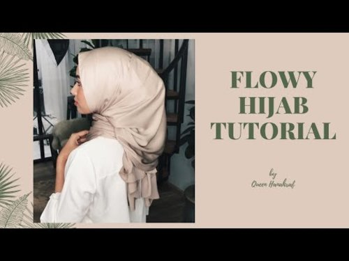 Flowy Satin Shawl Hijab Tutorial | QueenHanahraf - YouTube