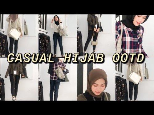 CASUAL HIJAB OOTD INDONESIA : Baju simple untuk ke kampus LOOKBOOK 📚📏✨ - YouTube
