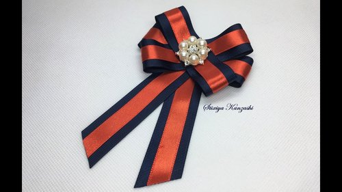 DIY / Brooch - Tie / Grosgrain and satin ribbons tie - YouTube