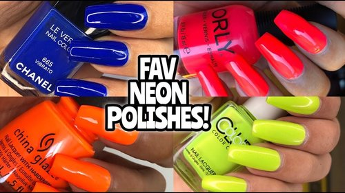 FAV NEON NAIL POLISHES! China Glaze, Color Club, Louboutin, Orly - YouTube