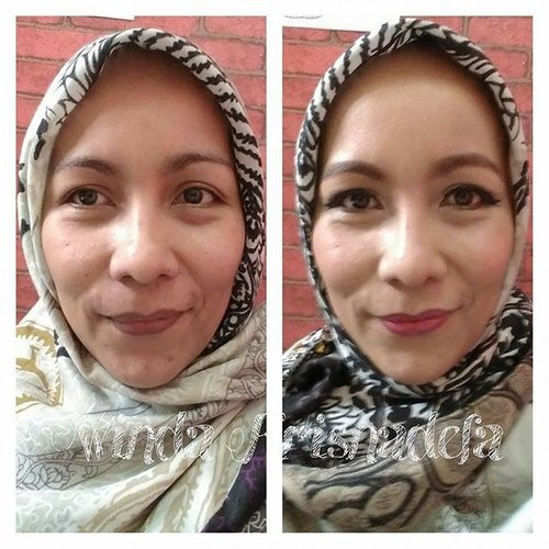 Playing make-up at home, and there you go. 😂 #cotd #makeover #makeupbattle #makeup #cosmetics #beauty #clozetteid #beforeafter #nofilter