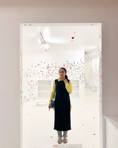 Suppose I put polka dots all over my body and then cover my background completely with polka dots. The polka dots on my body, merging with those in the background, create an optically strange scene - Yayoi Kusama  #yayoikusama #museummacan #kusamaxmacan #clozetteid