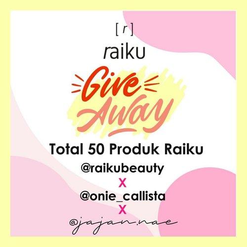 """[GIVEAWAY] 🎉 @raikubeauty x @onie_callista x @jajan.nae  Hi guys! 😍  Aku, @raikubeauty dan influencer lainnya mau ngadain giveaway dengan total hadiah 50 orang pemenang nihh! Cara nya gampang banget! -  Rules:  1. Pastikan akun kamu jangan diprivate  2. Follow @jajan.nae, @raikubeauty & @onie_callista  3. Comment """"I want ... (nama produk yang kamu mau, beserta shade nya kalo ada) dengan hastag #raikuxjajannae . 4. Mention 3 teman kamu, ajak ikut giveaway ini. Kalian boleh comment berkali - kali dengan teman yang berbeda.  5. Aktif di instagram @raikubeauty, @onie_callista dan @jajan.nae 😀 Semakin kamu kenotice, kesempatan menang km makin besar!  Giveaway ini berlangsung dr tanggal 01 April 2020 sampai 12 April 2020  Pengumuman pemenang akan di share di IG @onie_callista.  Goodluck! 💕 . #raikubeauty #raikuid #raikugiveaway #raikuxoniecallistaGA #raikuxjajannae . . #bloggerpekanbaru #pkubeautyblogger #bloggerperempuan #giveawayhunter#giveawayindo#infogiveaway#giveawayindonesian#giveawayskincare#kuisberhadiah#giveawaymakeup#giveawayalert#giveawayindonesia#giveawaypekanbaru#clozetteid"""