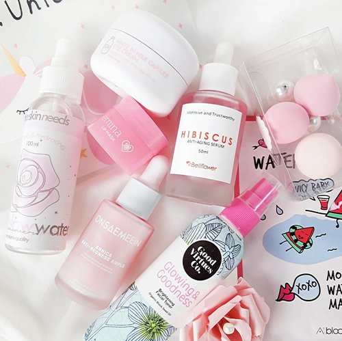 Happy Pink Wednesday 💐I believe in PINK 🧚‍♀️🏵 The Skin Needs Rose Glow Water🏵 Emina Lip Mask🏵 G9 Skin White in Milk Capsule Eye Cream🏵 Good Virtues Co. Glowing & Goodness Toner🏵 Bellflower Hibiscus Serum🏵 Althea Watermelon Mask and Baby Meringue PuffHave a nice day 🌞#ClozetteID #BeautyJournal