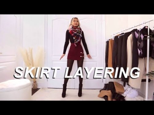 LAYERING outfit ideas for skirts |  Fall Winter lookbook - YouTube
