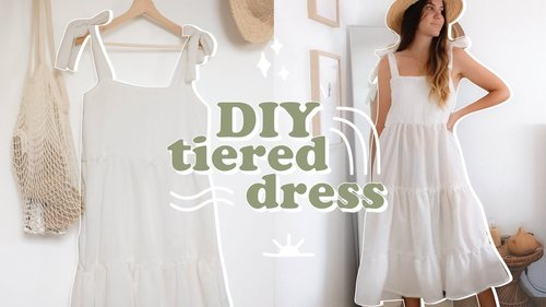 DIY // Tiered Flowy Dress (with tie straps) - YouTube
