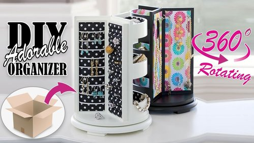 DIY ROTATING JEWELLERY ORGANIZER ADORABLE IDEA // Cute Organizer Tutorial - YouTube