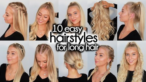 10 Easy Hairstyles for LONG Hair - YouTube
