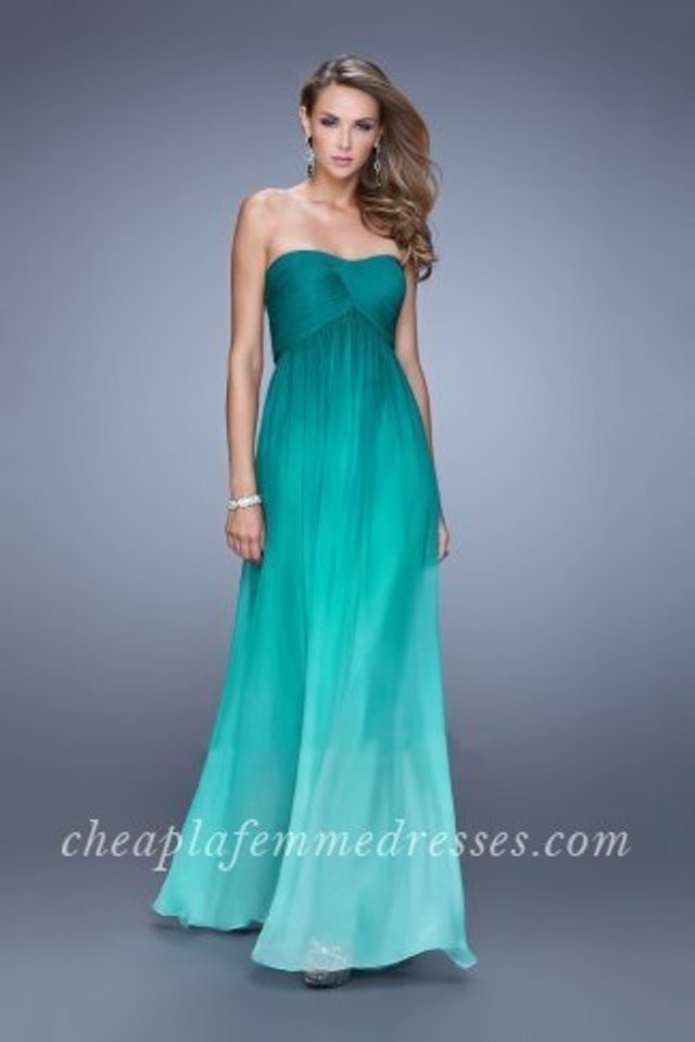 498826fb19b Beautiful La Femme 20986 ombre chiffon dress with a modified sweetheart  neckline and gathered empire waist. The bodice is asymmetrical pleated and  the back ...