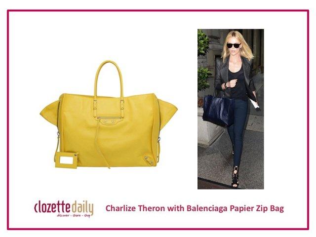 Charlize Theron with Balenciaga Papier Zip Bag